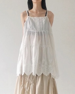 punching lace sleeveless, white