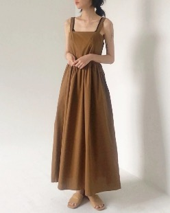 Coco long dress, brown