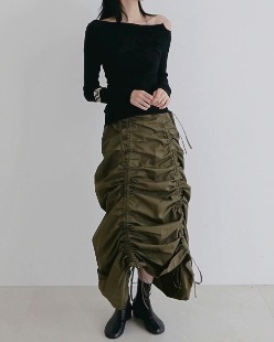 step skirt, khaki