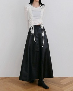 leather long skirt, black