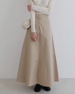 dry cotton maxi skirt, beige