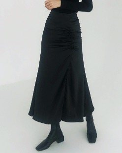 satin shirring slit skirt (2color)