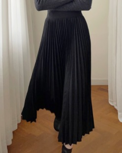 wool pleats skirt (2color)