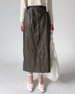 vintage maxi leather skirt (2color)