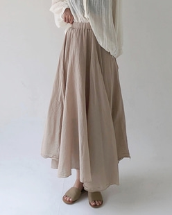 gauze flare skirt (4color)
